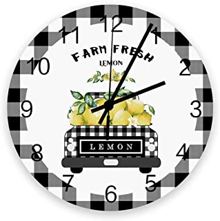Wooden Round Wall Clock 12'' Silent Battery Operated Non Ticking Clock, Black Grey Buffalo Plaid Farm Truck Carry Fresh Le...