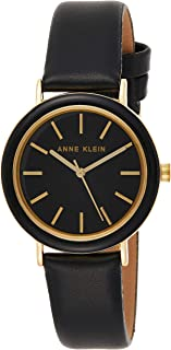Anne Klein Womens Quartz Watch, Analog Display and Leather Strap AK3148BKBK