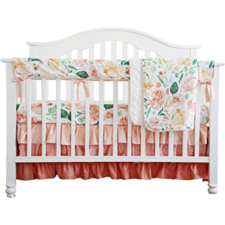 Girls Light Blue Floral Crib Bedding Sheet Ruffled Skirt Rail Cover Boppy Changing Pad Cover Blanket Curtain Baby Trail Bear Peach Mauve