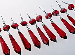 Sun Cling Chandelier Icicle Crystal 55mm, Pack of 10 (Red)