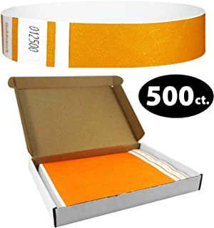 """Tyvek Wristbands - Goldistock Select Series with Box - Sun Glow Orange 500 Count - ¾"""" Arm Bands - Paper-Like Party Armbands - Upgrade Your Event - Box Provides Extra Security & Convenience"""