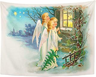 Tarolo Decor Wall Tapestry Victorian Three Angels Singing Outside Cottage Window on Christmas Eve Early 1900 Vintage Carol 80 x 60 Inches Wall Hanging Picnic for Bedroom Living Room Dorm