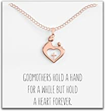 Happy Kisses Godmother Necklace Gift from Godchild – Goddaughter Pendant Jewelry – Gift for Baptism Mother Day Christmas or Birthday