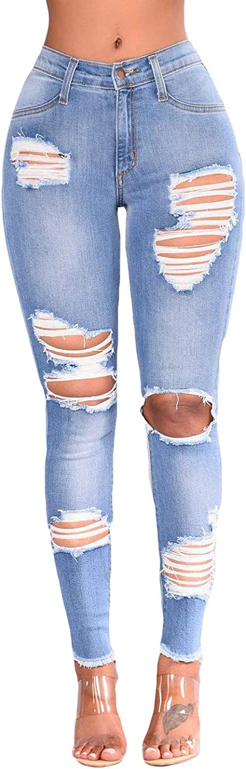 FUNEY Women's Ripped Boyfriend Jeans Cute Distressed Jeans Stretch Skinny Jeans with Hole Hip Push Up Stretchy Pants
