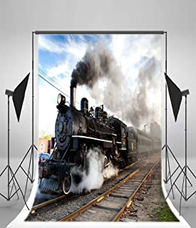 Yeele 5x7ft Old Fashioned Steam Locomotive Photo Backdrop Vinyl Vintage Classic Railway Engine Retro Train Photography Background For Adults Baby Portraits Party Decoration Booth Studio Props