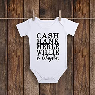 Funny Cash Hank Merle Willie And Waylon Country Music Baby Onesie Bodysuit For Hispanic Or Mexican Food Taco Lover