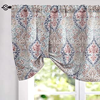 jinchan Damask Printed Tie-up Valances for Windows Multicolor Linen Textured Adjustable Tie Up Shade Window Curtain Rod Pocket Medallion Tie-up Valance Curtains 20 Inches Long (1 Panel, Green)