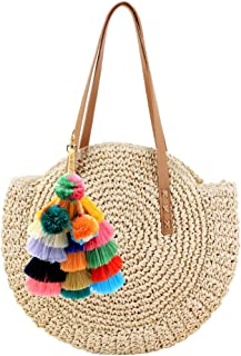 Abuyall Women Round Straw Shoulder Bag Weave Summer Beach Top Handle Handbag