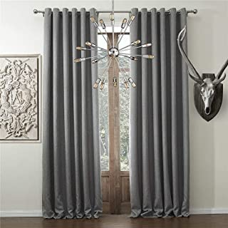 IYUEGO Solid Faux Linen Classic Room Darkening Grommet Top Curtain Draperies with Multi Size Custom 100