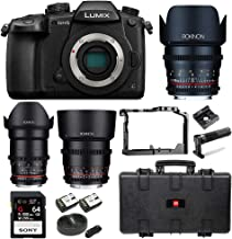 Panasonic Lumix GH5 4K Mirrorless Camera (Body) + Rokinon 3-Lens Cine Kit (35, 50, 85mm T1.5) 64GB UHSII Kit