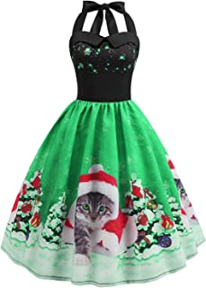 Christmas Dress Womens Vintage Halter Dress A Line 1950s Xmas Santa Cat Cocktail Swing Tea Dance Party Dress Costume