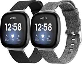 MEFEO Bands Compatible with Fitbit Versa 3 / Fitbit Sense Women Men, 2-Pack Breathable Woven Fabric Sport Straps Wristband...