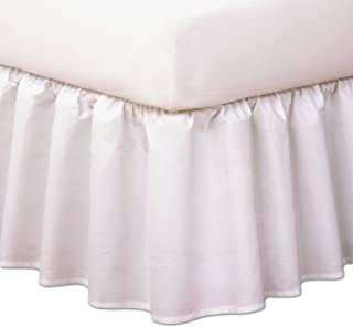 "Magic Skirt Ruffled Bedskirt, Never Lift Your Mattress, Classic 14"" drop length, Gathered Ruffle Styling, King, White"