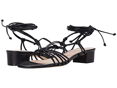 J.Crew Leather Knotted T-Strap Sandal (Black) Women