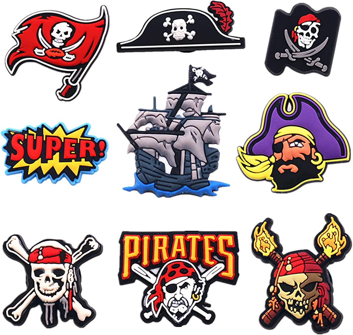 Auxury quality assurance 9pcs Shoe Charms Classic Pirate Flag Skull Ship Accessories