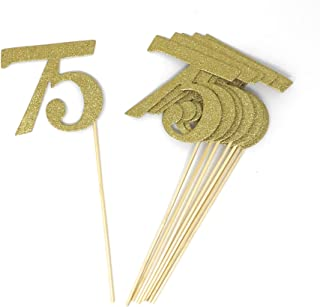 PaperGala Number 75 Set of 8 Double Sided Real Glitter Centerpiece Sticks DIY Reunions, Anniversaries, and Birthdays (Gold)