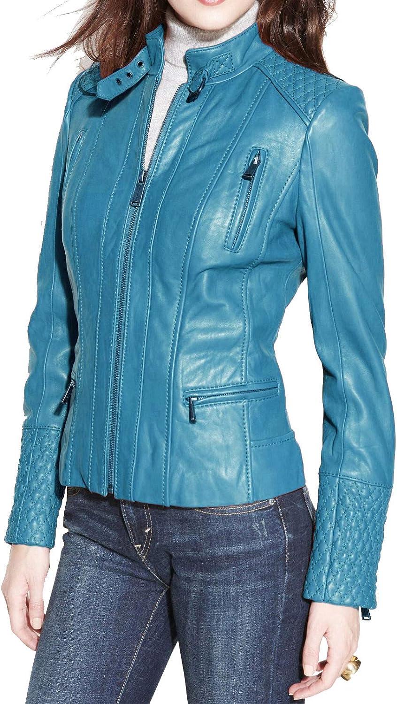 Alishbah Women's Leather Jacket Stylish Motorcycle Biker Genuine Lambskin WJ 334