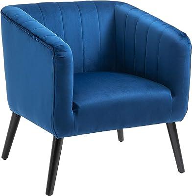 vidaXL Poltrona Chesterfield Imbottita Morbida Relax Comoda Schienale Ergonomico Cabriolet con Gambe Sedia con Braccioli Blu in Tessuto
