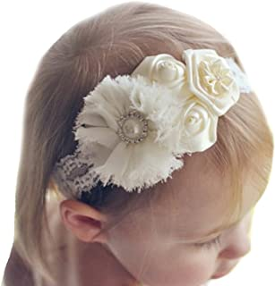 Miugle Baby Girls Lace Headbands Baby Baptism Headbands