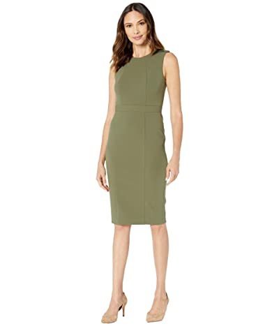 Donna Morgan Epaulette Detail Stretch Crepe Sheath Dress (Olive) Women