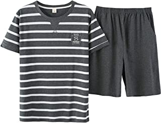 BYX SweetLeisure Big Boys Pajamas Set Soft Cotton Striped Tops with Shorts Pants Kids 8-16 Years