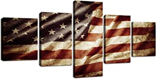 Retro American Flag Canvas USA Flag Print Art Blue and White Red Home Decor Wall Art Independence Day Pictures for Living Room 5 Panel Large Poster Painting Framed Ready to Hang(50''W x 24''H)