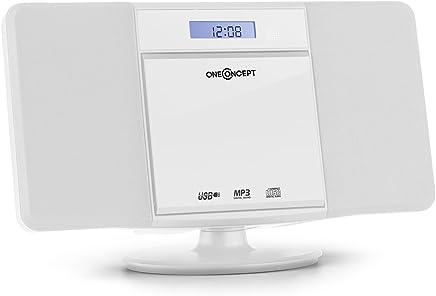 oneConcept V-13-BT • Mini impianto Stereo Compatto • Bluetooth • Lettore CD MP3 • Display LCD • Porta USB MP3 • AUX-in • Radio VHF • Sveglia • Telecomando • Bass Boost • Montaggio Parete • Bianco