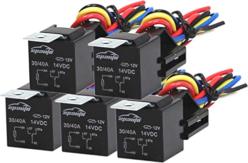 new arrival 5 Pack - EPAuto 30/40 AMP Relay Harness outlet online sale Spdt 12V, 5-PIN SPDT Bosch lowest Style sale