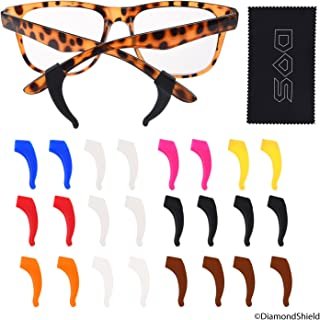 Adjustable earpiece grips for eyeglasses - 12 Pair- 2x transparent white, 2x black, 2x brown, 1x white, 1x hot pink, 1x blue, 1x red, 1x orange, 1x yellow - with Diamond Shield Cloth and Pack