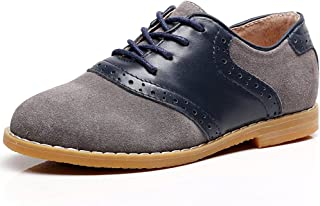 Shenn Boy's Kids Dress Uniform Brogue School Suede Leather Oxfords Shoes