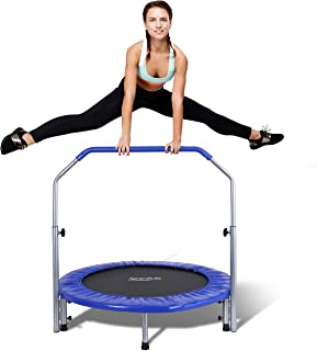 "SereneLife Portable & Foldable Trampoline - 40"" in-Home Mini Rebounder with Adjustable Handrail, Fitness Body Exercise - SLSPT409"