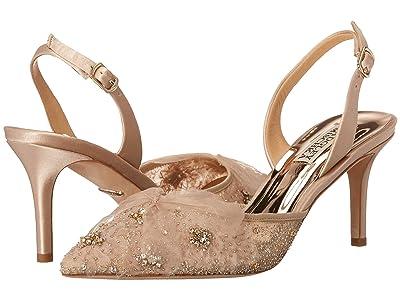 Badgley Mischka Angeline (Nude Satin/Mesh) High Heels