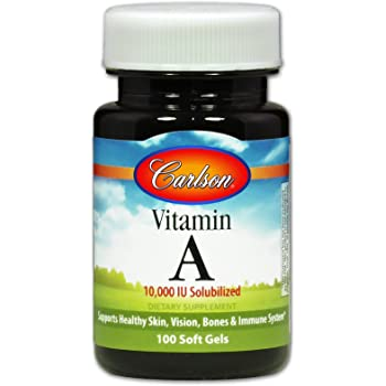 Carlson - Vitamin A, 10000 IU (3000 mcg RAE) Solubilized, Immune Support, Vision Health, Antioxidant, 100 Softgels