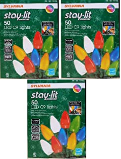Sylvania Stay-Lit Platinum Multicolor LED C-9 Indoor/Outdoor Holiday Lights - (50 lights per string) (3)