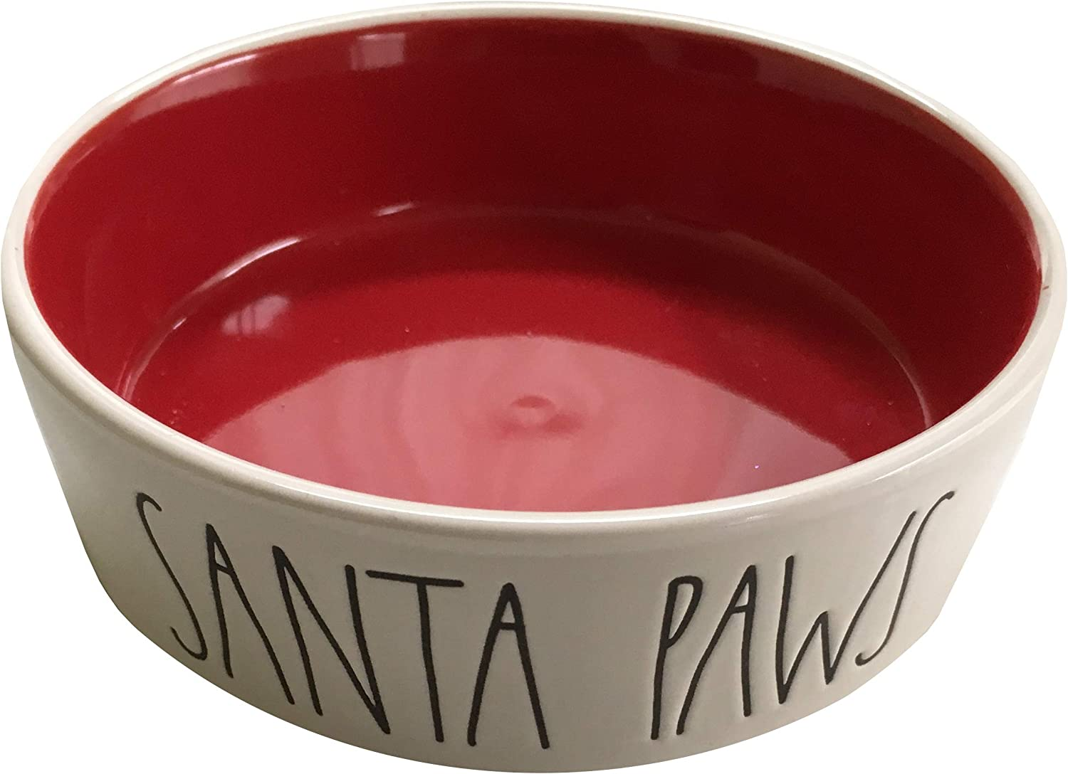 Rae Dunn Magenta Ceramic 5  X 11 2  Deep Pet Food Bowl Cat Dog Dish Christmas Santa Paws  Cream Red