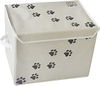 """Feline Ruff Large Dog Toys Storage Box. 16"""" x 12"""" inch Pet Toy Storage Basket with Lid. Perfect Collapsible Canvas Bin for..."""