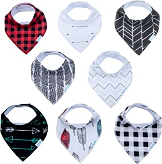Baby Drool Bandana Bibs for Boys Girls Organic Cotton Adjustable Snap Triangle Bib Set for Teething and Drooling 8 Pack Baby Shower Gift (Plaid&Striped 8pack)