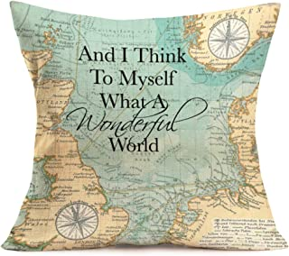 YANGYULU Geographic Map Compass Pillow Covers Cotton Linen Standard Throw Pillow Case Cushion Cover Decorative Home Sofa C...