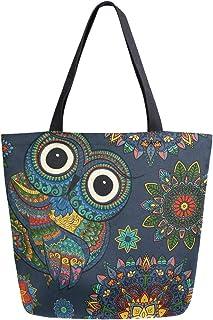 Mnsruu Isaoa Einkaufstasche, Segeltuch, wiederverwendbar, Eulen-Motiv, für Damen und Mädchen