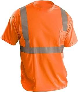 OccuNomix LUX-SSETP2B-OM Classic Standard Short Sleeve Wicking Birdseye T-Shirt, Class 2, 100% ANSI Wicking Polyester Birdseye, Medium, Orange (High Visibility)
