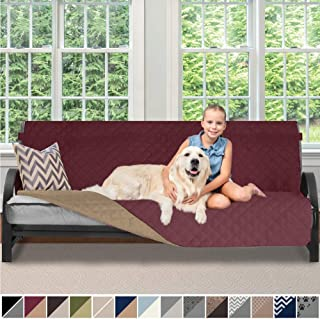 Sofa Shield Original Patent Pending Reversible Futon Slipcover, 2 Inch Strap Hook, Seat Width Up to 70 Inch Washable Furniture Protector, Futons Slip Cover Throw for Pets, Kids, Futon, Burgundy Tan