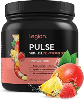 Legion Pulse, Best Caffeine Free Natural Pre Workout Supplement for Women and Men – Powerful Nitric Oxide Booster, Non Sti...