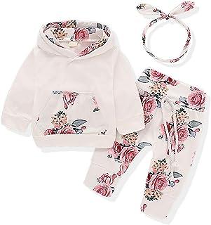 Wexuua Baby Mädchen Langarm Floral Hoodie Tops Sweatshirt mit Känguru Tasche Hosen Stirnband Outfits Set
