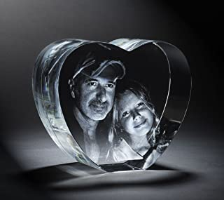 Personalized Custom 2D/3D Photo Etched Engraving Crystal Heart