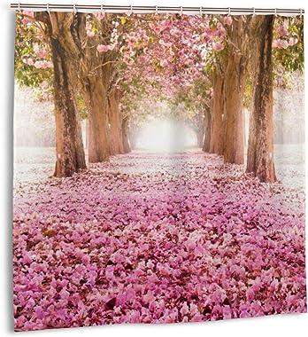 MEROU Spring Beautiful Tree Flower Landscape Shower Curtain Printing Waterproof Bathroom Curtain 60 X 72 Inches