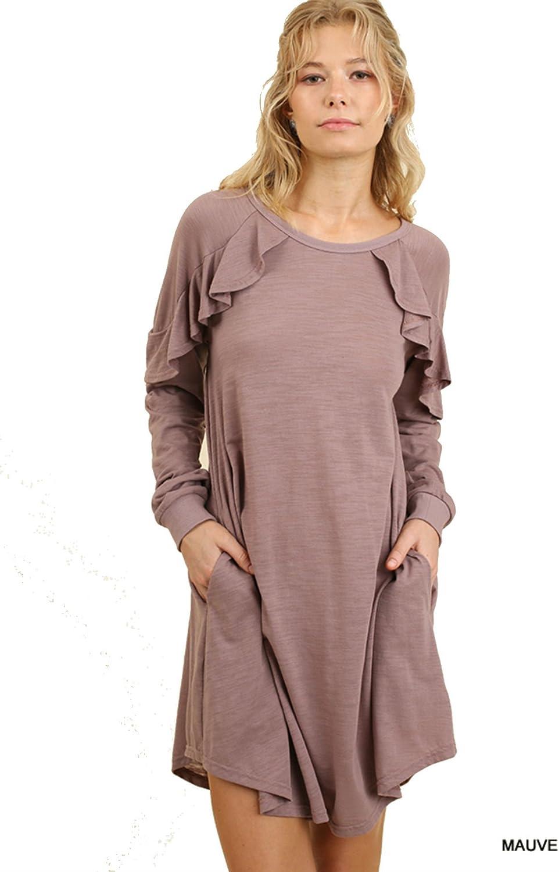 Umgee Ruffled Long Sleeve Pocket Dress