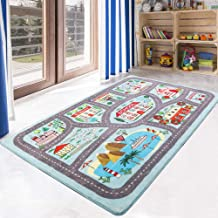 LIVEBOX Play Mat, Faux Wool Kids Road Traffic Area Rugs 3' x 5' Non-Slip Childrens Crawling Carpet Colorful Educational & ...