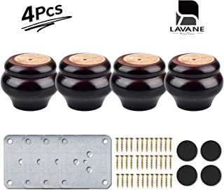 2 inch / 5cm Wooden Furniture Legs, La Vane Set of 4 Mahogany Wood Replacement Bun Feet with Mounting Plate & Screws for Sofa Chair Loveseat Ottoman Dresser