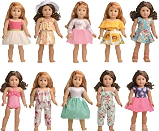 Bili 18 Inch Doll American Girl Doll Clothes, 10 Outfit Doll Accessories Compatible with 18 Inch American Girl Doll, My Life Doll, Our Generation Doll in Xmas ... (16-18 inch, A)