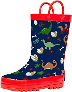 Horalah Rain Boots for Kids and Toddlers with Easy-On Handles, Waterproof Printed Rubber Rain Boots for Boys and Girls